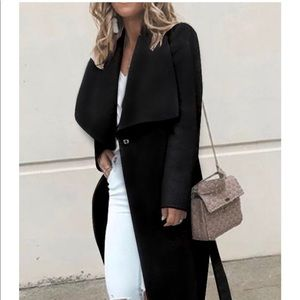 Jackets & Blazers - Fold Over Collar belted jacket